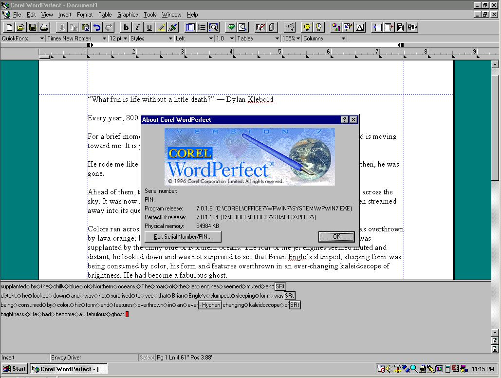 corel wordperfect 7