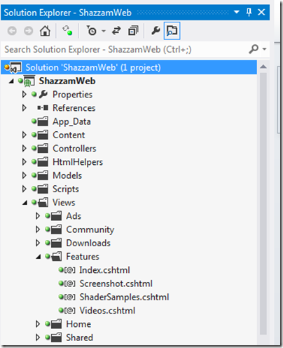 vs2012 solution explorer