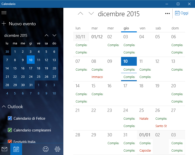 windows10 calendario