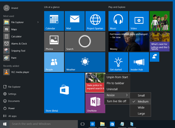 windows10 start
