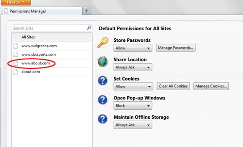 firefox V6 permission manager