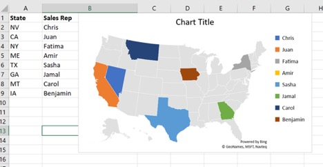 excel2019 map chart