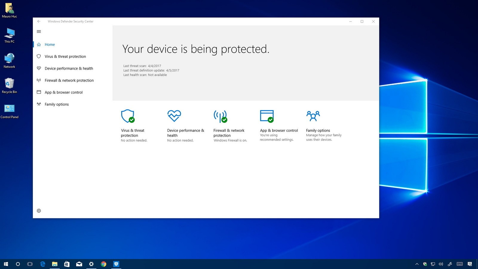 windows10cu defender scurity center